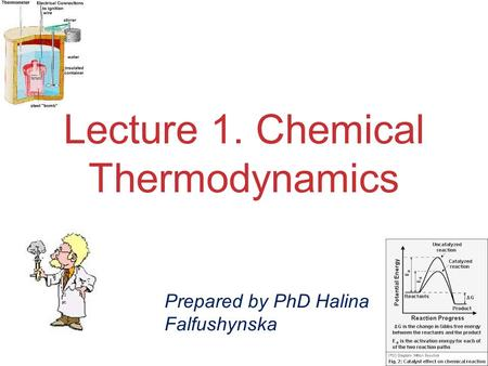 Chemical Thermodynamics Lecture 1. Chemical Thermodynamics Prepared by PhD Halina Falfushynska.