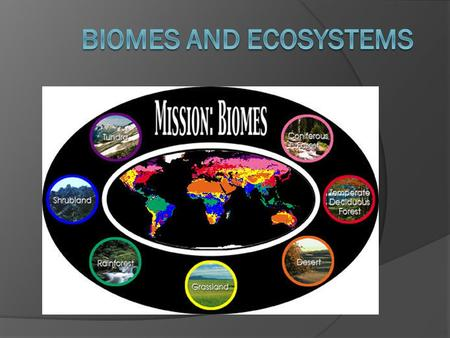 What is a biome?  A biome is a large geographical region characterized by distinctive types of plants and animals and a specific climate  Sometimes.