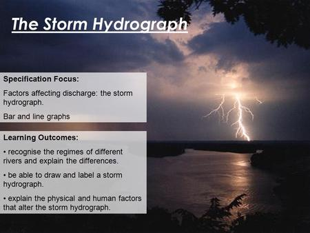 The Storm Hydrograph Specification Focus: