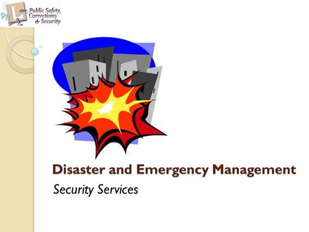 Disaster and Emergency Management Security Services.