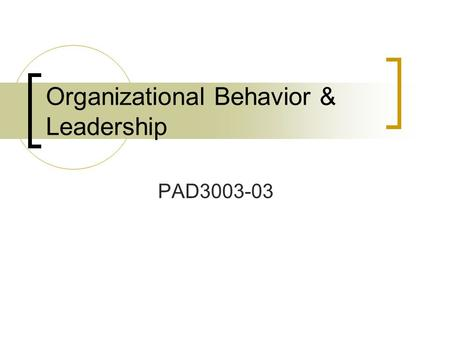 Organizational Behavior & Leadership