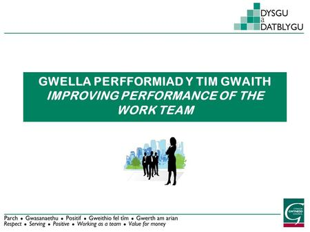 GWELLA PERFFORMIAD Y TIM GWAITH IMPROVING PERFORMANCE OF THE WORK TEAM.