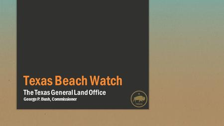 Texas Beach Watch The Texas General Land Office George P. Bush, Commissioner.