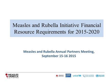 Measles and Rubella Initiative Financial Resource Requirements for 2015-2020 Measles and Rubella Annual Partners Meeting, September 15-16 2015.