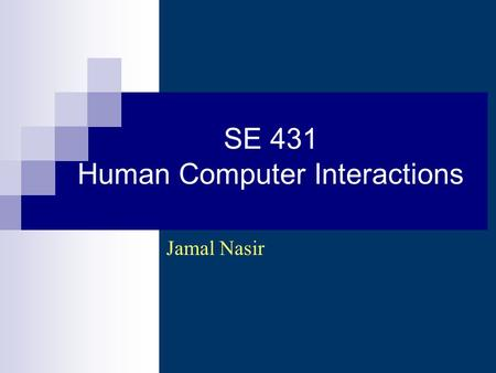 SE 431 Human Computer Interactions Jamal Nasir. How to design & build good UIs UI Development process Usability goals User-centered design Design discovery.