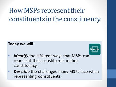 How MSPs represent their constituents in the constituency Today we will: Identify the different ways that MSPs can represent their constituents in their.