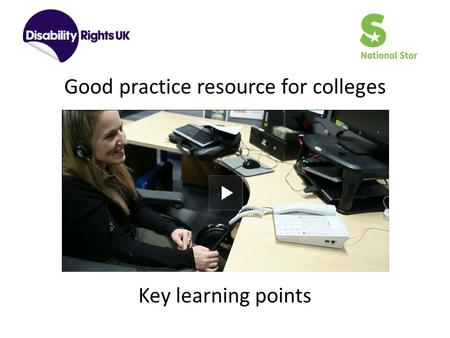 Good practice resource for colleges Key learning points.
