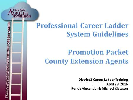 Professional Career Ladder System Guidelines Promotion Packet County Extension Agents District 2 Career Ladder Training April 29, 2016 Ronda Alexander.