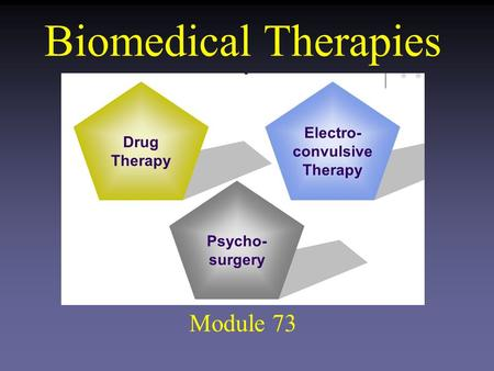 Biomedical Therapies Module 73. Biomedical Therapies Medical Treatment of psychological disorders that involve changing the brain's functioning by using.