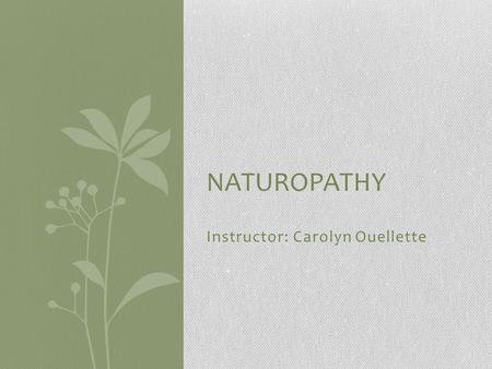 Instructor: Carolyn Ouellette NATUROPATHY. Table Of Contents Quick Review Introduction to Naturopathy Principles of Naturopathy Types of Naturopathy Practices.