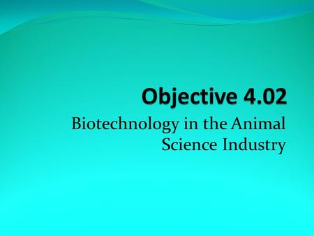 Biotechnology in the Animal Science Industry. a. Animal cloning – 1) For product uniformity such as drumstick uniformity in the poultry industry.