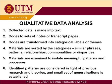 INSPIRING CREATIVE AND INNOVATIVE MINDS QUALITATIVE DATA ANALYSIS 1.Collected data is made into text 2.Codes to sets of notes or transcript pages 3.Codes.