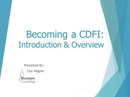 Becoming a CDFI: Introduction & Overview Presented By: Lisa Wagner.