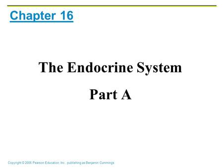 Copyright © 2006 Pearson Education, Inc., publishing as Benjamin Cummings Chapter 16 The Endocrine System Part A.