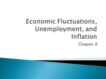 Chapter 8.  Relate fluctuations in GDP to employment and the demand for labor.  Classify unemployment into three categories.  Distinguish the difference.