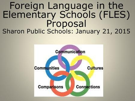 *1 Foreign Language in the Elementary Schools (FLES) Proposal Sharon Public Schools: January 21, 2015.