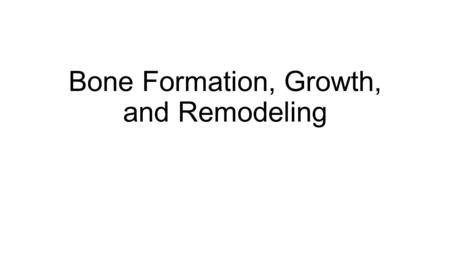 Bone Formation, Growth, and Remodeling. Bone formation, growth and remodeling The skeleton is formed from two of the strongest and most supportive tissues.