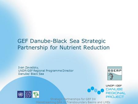 GEF Danube-Black Sea Strategic Partnership for Nutrient Reduction Strategic Partnerships for GEF IW Mainstreaming GPA in Transboundary Basins and LMEs.