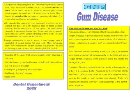 What Is Gum Disease and Who's at Risk? Periodontal disease is an infection of the tissues and bone that support the teeth. If gum disease is not treated.