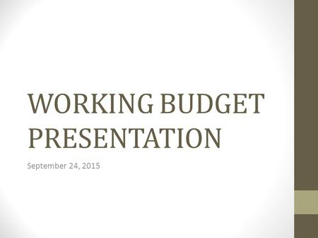 WORKING BUDGET PRESENTATION September 24, 2015. Revenue Unaudited Carry Forward Balance - $6,323,361.00 Increased $423,361 from the tentative budget and.