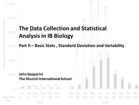The Data Collection and Statistical Analysis in IB Biology John Gasparini The Munich International School Part II – Basic Stats, Standard Deviation and.