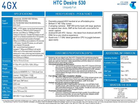 HERO FEATURES – POS & TICKET SPECIFICATIONS ADDITIONAL INFORMATION WHATS IN THE BOX CUSTOMER PROPOSITION (USP'S) THE TELSTRA MOBILE NETWORK OFFERS 4GX.