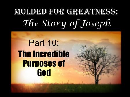 Part 10: The Incredible Purposes of God Molded for Greatness: The Story of Joseph.