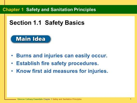 Section 1.1 Safety Basics Burns and injuries can easily occur.
