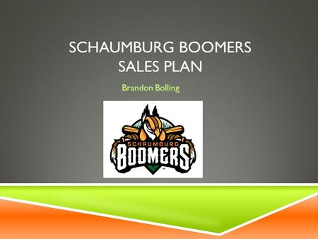 SCHAUMBURG BOOMERS SALES PLAN Brandon Bolling. OVERVIEW  The Schaumburg Boomers are an independent league professional baseball team that play in the.