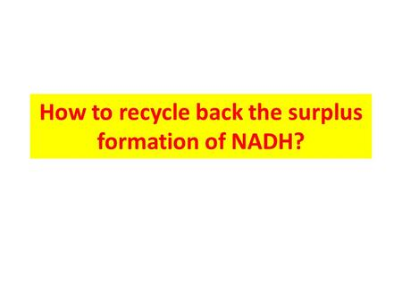 How to recycle back the surplus formation of NADH?