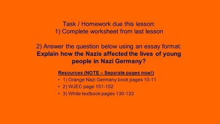 education in nazi germany essay example Find essay examples and nazi germany serves as an example of a totalitarian state nazi education system education plays a vital role in.