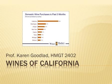 Prof. Karen Goodlad, HMGT 2402.  An Extensive Array of Wine for the World to Enjoy  Ranges form jug wine to super premium  85% of all vineyards and.