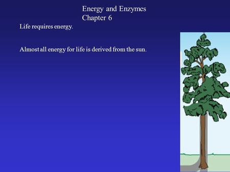 Energy and Enzymes Chapter 6 Almost all energy for life is derived from the sun. Life requires energy.