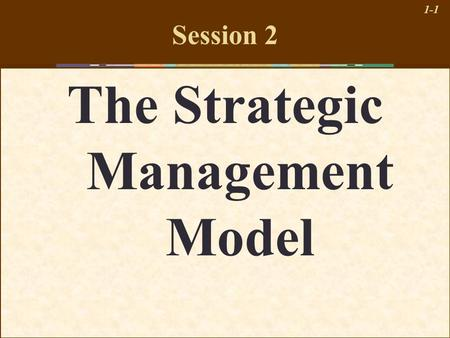 1-1 Session 2 The Strategic Management Model. 1-2 Learning Objectives 1.Understand the different levels of strategy 2.Describe a comprehensive model of.