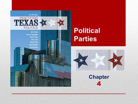 Political Parties Chapter 4. Learning Objectives 4.1 Describe the structure of political parties in Texas, distinguishing between the temporary party.