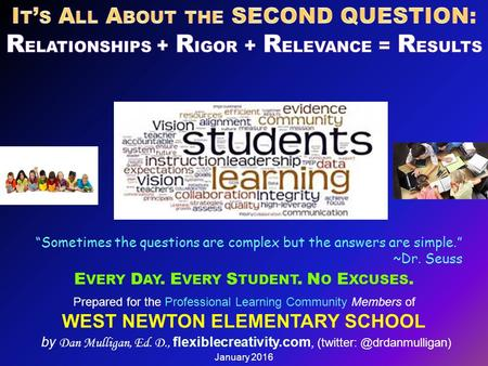 Prepared for the Professional Learning Community Members of WEST NEWTON ELEMENTARY SCHOOL by Dan Mulligan, Ed. D., flexiblecreativity.com,