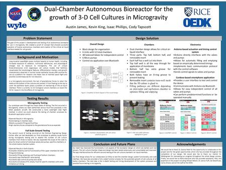 Dual-Chamber Autonomous Bioreactor for the growth of 3-D Cell Cultures in Microgravity Austin James, Kevin King, Isaac Phillips, Cody Tapscott Problem.