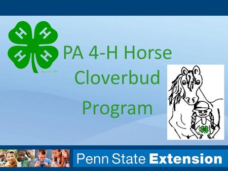 PA 4-H Horse Cloverbud Program. Sterling Buist Equine Extension Specialist 814-863-3657 Bethany Bickel Sterling Buist Donna Grey PA 4-H.