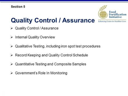 Quality Control / Assurance Internal Quality Overview