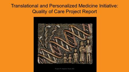Translational and Personalized Medicine Initiative: Quality of Care Project Report Project PI: Stephen Raab, MD.