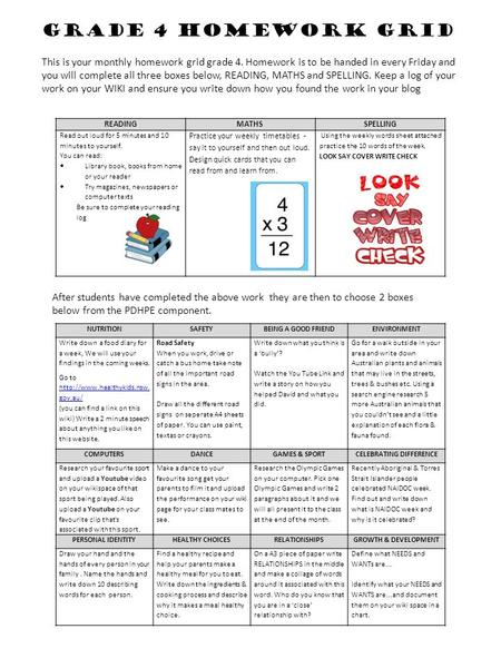 Grade 4 Homework Grid This is your monthly homework grid grade 4. Homework is to be handed in every Friday and you will complete all three boxes below,