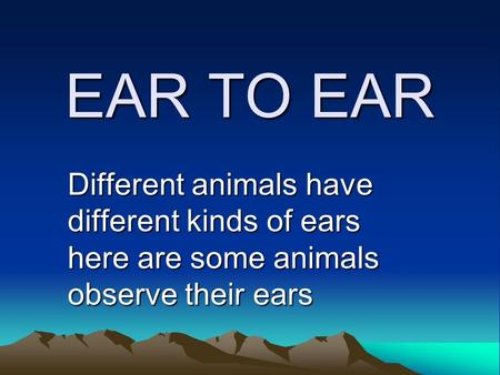 EAR TO EAR Different animals have different kinds of ears here are some animals observe their ears.