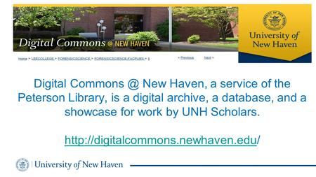 Digital New Haven, a service of the Peterson Library, is a digital archive, a database, and a showcase for work by UNH Scholars.