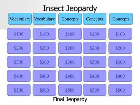Insect Jeopardy $100 Vocabulary Concepts $200 $300 $400 $500 $400 $300 $200 $100 $500 $400 $300 $200 $100 $500 $400 $300 $200 $100 $500 $400 $300 $200.