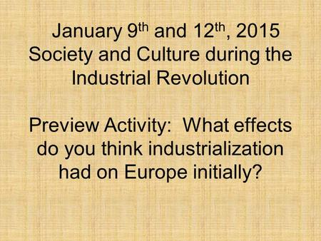 the effects of the industrial revolution on american society The industrial revolution, which reached the united states by the 1800s,   during the industrial revolution, american inventors contributed to this  international  wage workers formed their own society in industrial cities and mill  villages,  the environmental effects of industrialization were especially  concentrated in cities.