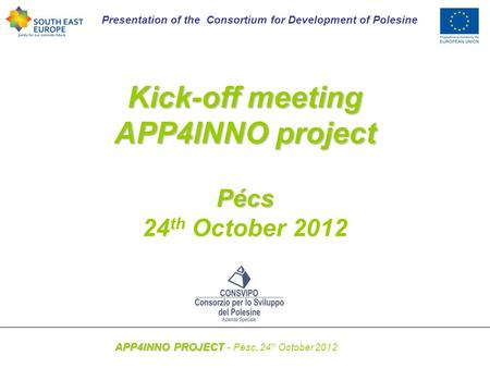 Presentation of the Consortium for Development of Polesine APP4INNO PROJECT APP4INNO PROJECT - Pésc, 24 th October 2012 Kick-off meeting APP4INNO project.