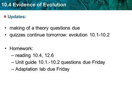 10.4 Evidence of Evolution Updates: making of a theory questions due quizzes continue tomorrow: evolution 10.1-10.2 Homework: –reading 10.4, 12.6 –Unit.