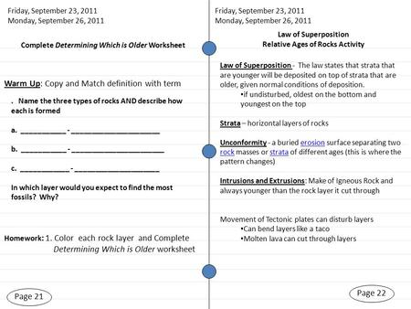 Page 21 Homework : 1. Color each rock layer and Complete Determining Which is Older worksheet Page 22 Friday, September 23, 2011 Monday, September 26,