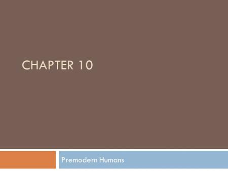 CHAPTER 10 Premodern Humans. Chapter Outline  When, Where and What  Premodern Humans of the Middle Pleistocene  A Review of Middle Pleistocene Evolution.