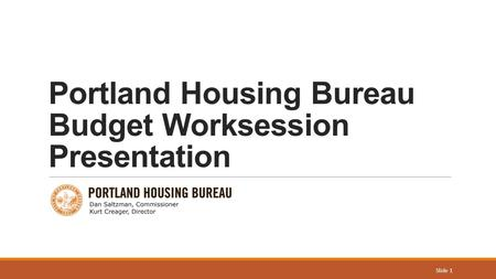 Portland Housing Bureau Budget Worksession Presentation Slide 1.